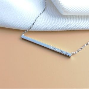 Michael Kors Sliver Tone Logo Bar Pendant Necklace